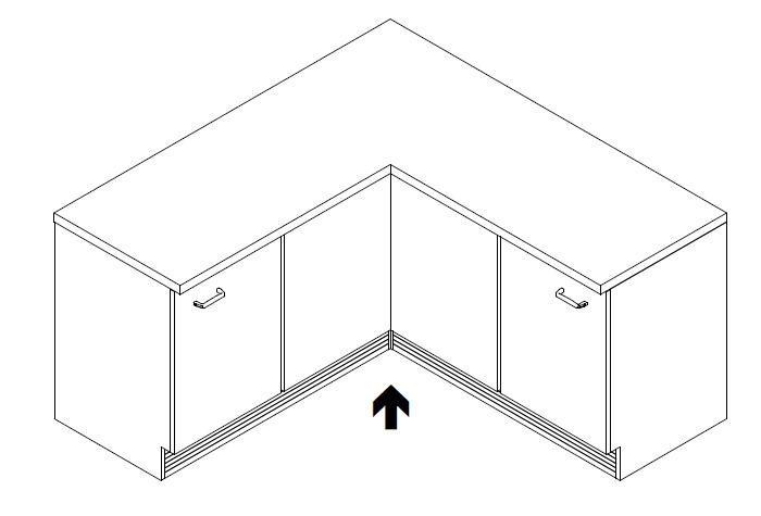 küchen-sockelsystem aus aluminium in inox-oberfläche